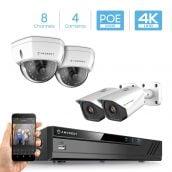 Amcrest 4K 8CH Security Camera System w/ H.265 4K (8MP) NVR, (4) x 4K (8-Megapixel) IP67 Weatherproof Metal Bullet & Dome POE IP Cameras (3840x2160), 2.8mm Wide Angle Lens, 98ft Nightvision (White)