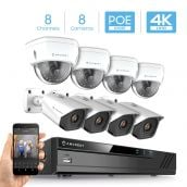Amcrest 4K 8CH Security Camera System w/ H.265 4K (8MP) NVR, (8) x 4K (8-Megapixel) IP67 Weatherproof Metal Bullet & Dome POE IP Cameras (3840x2160), 2.8mm Wide Angle Lens, 98ft Nightvision, NV4108E-2493EW4-2496EW4 (White)