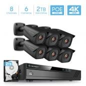Amcrest 4K 8-Channel Security Camera System with H.265 4K (8MP) NVR & Six x 4K (8-Megapixel) IP67 Weatherproof Metal Bullet POE IP Cameras (3840x2160P), 2TB Hard Drive Included, 2.8mm Wide Angle Lens 98ft Nightvision (Black)