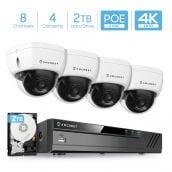 Amcrest 4K 8CH Security Camera System w/ 4K (8MP) NVR, (4) x 4K (8-Megapixel) IP67 Weatherproof Metal Dome POE IP Cameras (3840x2160), Pre-Installed 2TB Hard Drive, NV4108E-HS-IP8M-2493EW4-2TB (White)