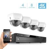 Amcrest 4K Security Camera System w/ 4K 8CH PoE NVR, (4) x 4K (8-Megapixel) IP67 Weatherproof Metal Dome POE IP Cameras, 2.8mm Wide Angle Lens, Hard Drive Not Included, NV4108E-HS-IP8M-2493EW4 (White)