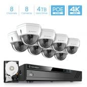 Amcrest 4K 8CH Security Camera System w/ 4K 8CH PoE NVR, (8) x 4K (8-Megapixel) IP67 Weatherproof Metal Dome POE IP Cameras, 2.8mm Wide Angle Lens, Pre-Installed 4TB Hard Drive, NV4108E-HS-IP8M-2493EW8-4TB (White)