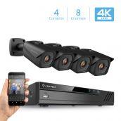 Amcrest 4K 8-Channel Security Camera System with H.265 4K (8MP) NVR & Four x 4K (8-Megapixel) IP67 Weatherproof Metal Bullet POE IP Cameras (3840x2160P) 2.8mm Wide Angle Lens, NV4108E-HS-IP8M-2496EB4 (Black)