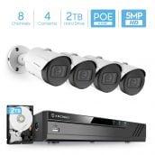 Amcrest 5MP Security Camera System, 4K 8CH PoE NVR, (4) x 5-Megapixel 2.8mm Wide Lens Weatherproof Metal Bullet PoE IP Cameras, Pre-Installed 2TB Hard Drive, NV4108E-IP5M-B1186EW4-2TB (White)