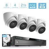 Amcrest 5MP Security Camera System, 4K 8CH PoE NVR, (4) x 5-Megapixel 2.8mm Wide Lens Weatherproof Metal Turret PoE IP Cameras, Built in Mic, Pre-Installed 2TB Hard Drive, NV4108E-IP5M-T1179EW4-2TB (White)