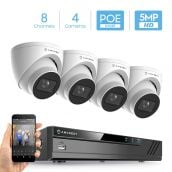 Amcrest 5MP Security Camera System, 4K 8CH PoE NVR, (4) x 5-Megapixel 2.8mm Wide Lens Weatherproof Metal Turret PoE IP Cameras, Built in Mic, Hard Drive Not Included, NV4108E-IP5M-T1179EW4 (White)