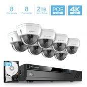 Amcrest 4K Security Camera System w/ 4K 8CH PoE NVR, (8) x 4K (8-Megapixel) IP67 Weatherproof Metal Dome POE IP Cameras, 2.8mm Wide Angle Lens, Pre-Installed 2TB Hard Drive, NV4108E-IP8M-2493EW8-2TB
