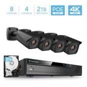 Amcrest 4K 8-Channel Security Camera System with H.265 4K (8MP) NVR & Four x 4K (8-Megapixel) IP67 Weatherproof Metal Bullet POE IP Cameras (3840x2160P), 2TB Hard Drive Included, 2.8mm Wide Angle Lens 98ft Nightvision (Black)