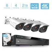 Amcrest 4K Security Camera System with 4K (8MP) 8-Channel NVR & Four x 4K (8-Megapixel) IP67 Weatherproof Metal Bullet POE IP Cameras (3840x2160P), Pre-Installed 2TB Hard Drive, NV4108E-IP8M-2496EW4-2TB (White)