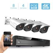 Amcrest 4K Security Camera System with 4K (8MP) 8-Channel NVR & Four x 4K (8-Megapixel) IP67 Weatherproof Metal Bullet POE IP Cameras (3840x2160P), 2.8mm Wide Angle Lens, NV4108E-IP8M-2496EW4 (White)