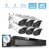 Amcrest 4K Security Camera System with 4K (8MP) 8-Channel NVR & Six x 4K (8-Megapixel) IP67 Weatherproof Metal Bullet POE IP Cameras (3840x2160P), Pre-Installed 2TB Hard Drive, NV4108E-2496EW28M6-2TB (White)