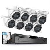Amcrest 4K Security Camera System w/ 4K 8CH PoE NVR, (8) x 4K (8-Megapixel) IP67 Weatherproof Metal Turret Dome POE IP Cameras (3840x2160), Pre-Installed 4TB Hard Drive, NV4108E-IP8M-T2599EW8-4TB (White)
