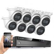 Amcrest 4K Security Camera System w/ 4K 8CH PoE NVR, (8) x 4K (8-Megapixel) IP67 Weatherproof Metal Turret Dome POE IP Cameras (3840x2160), 2.8mm Lens, NV4108E-IP8M-T2599EW8 (White)
