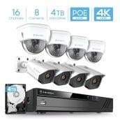 Amcrest 4K 16-Channel Security Camera System w/ H.265 4K NVR, (8) x 4K (8-Megapixel) IP67 Weatherproof Metal Bullet & Dome POE IP Cameras (3840x2160), 2.8mm Angle Lens, 4TB Hard Drive, 98ft Nightvision (White)