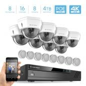 Amcrest 4K Security Camera System w/ 4K 16CH (8-Port PoE) NVR, (8) x 4K IP67 Weatherproof Dome POE IP Cameras, 8 x Hi-FI Audio Microphones, Pre-Installed 4TB HDD, NV4116E-2493EW8-HAP1208-4TB (White)