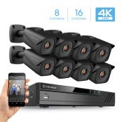 Amcrest 4K 16 Channel Security Camera System with H.265 4K (8MP) NVR, Eight x 4K (8-Megapixel) IP67 Weatherproof Metal Bullet POE IP Cameras (3840x2160), 2.8mm Wide Angle Lens, 98ft Nightvision (Black)