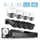 Amcrest 4K 16-Channel Security Camera System w/ H.265 4K NVR, (8) x 4K IP67 Weatherproof Metal Bullet (Black) & Dome (White) POE IP Cameras (3840x2160), 2.8mm Angle Lens, 4TB HDD, 98ft Nightvision