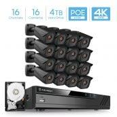 Amcrest 4K 16CH Security Camera System w/ H.265 4K (8MP) NVR, (16) x 4K (8-Megapixel) IP67 Weatherproof Metal Bullet POE IP Cameras (3840x2160), 2.8mm Wide Angle Lens, 4TB HDD Included, 98ft Nightvision (Black)