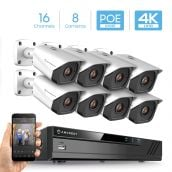 Amcrest 4K Security Camera System with 4K (8MP) 16-Channel (8-Port PoE) NVR & Eight x 4K (8-Megapixel) IP67 Weatherproof Metal Bullet POE IP Cameras (3840x2160P), 2.8mm Wide Angle Lens, NV4116E-IP8M-2496EW8 (White)
