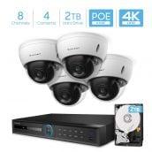 Amcrest 4K Security Camera System w/ 4K 8CH PoE NVR, 4 x 4K (8MP) IP67 Weatherproof Dome POE IP Cameras, 2.8mm Wide Angle Lens, NV5208E-IP8M-2693EW4-2TB (White)