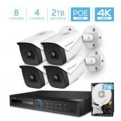Amcrest 4K Security Camera System with 4K 8CH PoE NVR, 4 x 4K (8MP) IP67 Weatherproof Metal Bullet PoE IP Cameras, 2.8mm Wide Angle Lens, Pre-Installed 2TB Hard Drive,  NV5208E-IP8M-2696EW4-2TB (White)