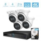 Amcrest 4K Security Camera System w/ 4K 8CH PoE NVR, 4 x 4K (8MP) IP67 Weatherproof Turret POE IP Cameras, 2.8mm Wide Angle Lens, Pre-Installed 2TB Hard Drive, NV5208E-IP8M-T2669EW4-2TB (White)