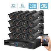 Amcrest 4K Security Camera System with 4K 32CH 16 PoE Port NVR, 16 x 4K (8-Megapixel) IP67 Weatherproof Metal Bullet POE IP Cameras, 2.8mm Wide Angle Lens, Hard Drive Not Included, NV5232E-IP8M-2496EB16 (Black)