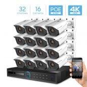 Amcrest 4K Security Camera System with 4K 32CH 16 PoE Port NVR, 16 x 4K (8-Megapixel) IP67 Weatherproof Metal Bullet POE IP Cameras, 2.8mm Wide Angle Lens, Hard Drive Not Included, NV5232E-IP8M-2496EW16 (White)